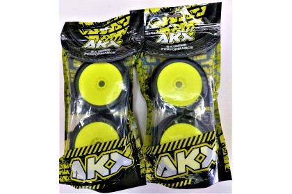 AKX EXTREME PERFORMANCE #5039 BUGGY SOFT TIRES & YELLOW RIMS 4PCS BLOCKADE (PRE GLUED)